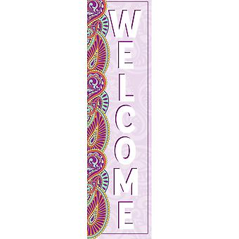 """Positively Paisley Welcome Vertical Banner, 12"""" X 45"""""""