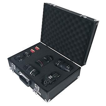 HMF 14501-02 alumiinikamerakotelo, asekotelo kuutioivalla vaahtomuovilla | 46 x 33 x 15 cm | Musta