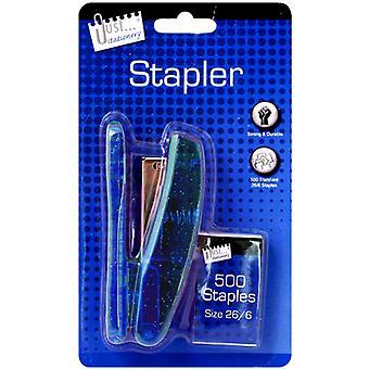 Just Stationery Metallic Stapler And Staples Set
