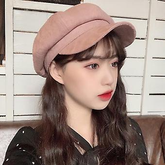 Women Retro Octagonal Newsboy Cap, Solid Plain Suede Beret Painter Hat