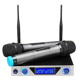 Univerzális LCD Dual Channel 2 mikrofon professzionális kézi UHF KTV Karaoke vezeték nélküli mikrofon