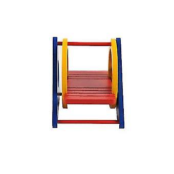Πολύχρωμο χάμστερ ουράνιο τόξο swing ξύλινα πριόνι-ξύλινα ζουμ σκάλα, αστείο μικρό παιχνίδι των ζώων