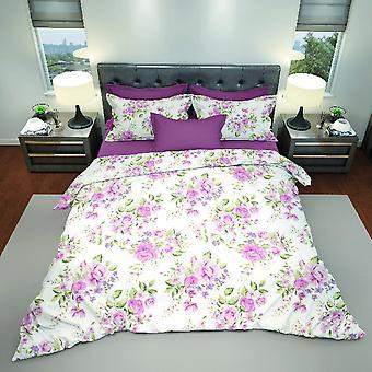 Cama rosa de algodão multicolorido completo, L240xP290 cm, L170xP200 cm, L52xP82 cm