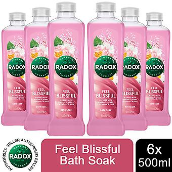 Radox 100% Nature Inspired Fragrances Bath Soak, Feel Blissful, 6 Pack, 500ml