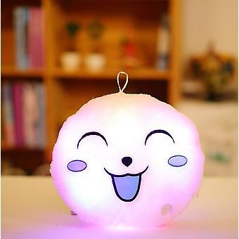 33cm Kawaii Lighting Round Smile Face Plush Stuffed Luminous Led Plush Pillow