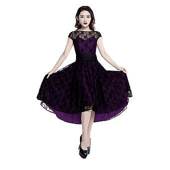 Chic Star Plus Size 1950s Full Swing Lace Dress In Purple