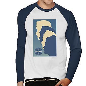 Pan Am Crew Silhouette Hombres's Béisbol Camiseta de Manga Larga