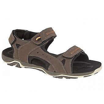 PDQ Peak Mens Faux Leather Hiking Sandals Brown