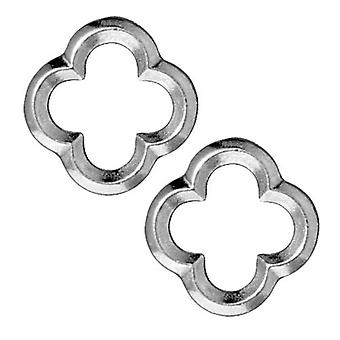 TierraCast Rhodium Plated Lead-Free Pewter Med Quatrefoil Connector Link 16mm (2)