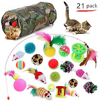 Cat Toys 21 PCS Kitten Toys Assorted Cat Tunnel Catnip Fish Mouse Teaser Wand Variety Balls