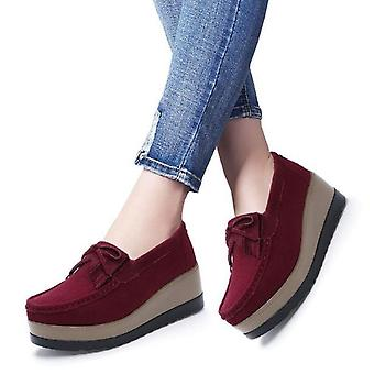 Women Flats Suede Genuine Leather Loafers - Wine Red