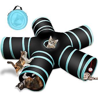 5-Wege-Katzentunnel, Zusammenklappbarer Haustierspieltunnel Interaktive Röhre für Katze, Welpe, Kitty, Kätzchen,