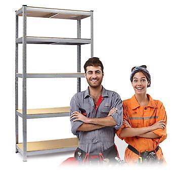 Opbergrek stellingkast 5 planken – 180 x 90 x 30 cm – Zilver