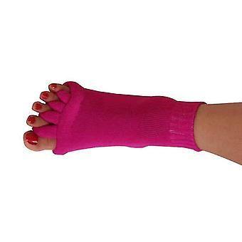 Rød yoga åpen tå sokker femfinger separator fotjustering sokker cai1076