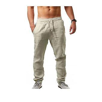 גברים חמים מכנסיים כותנה פשתן