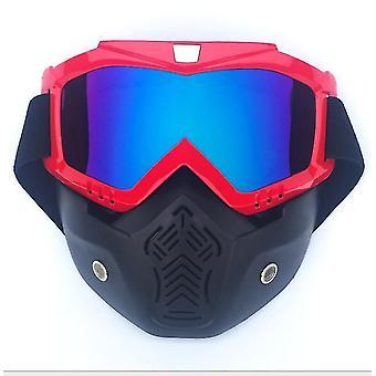 取り外し可能なフェイスマスクx5627とゴーグルメガネに乗ってワンサイズの赤いオートバイのヘルメット
