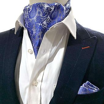 Vaaleansininen paisley cravat & pocket square set