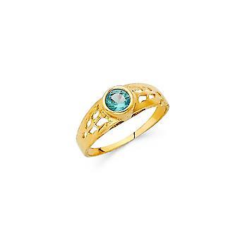 14k Yellow Gold Boys and Girls December Birthday Ring Size 3 - .7 Grams