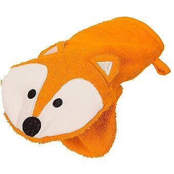 Waschhandschuh und Handpuppe als Fuchs aus 100% Baumwolle – Öko Tex 100 zertifizierter