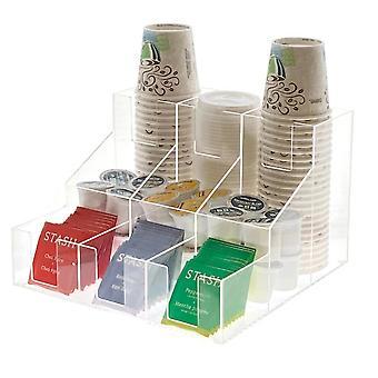 OnDisplay Akryl Break Room Coffee Station Organizer för koppar / lock / socker / kaffekapslar / te och mer