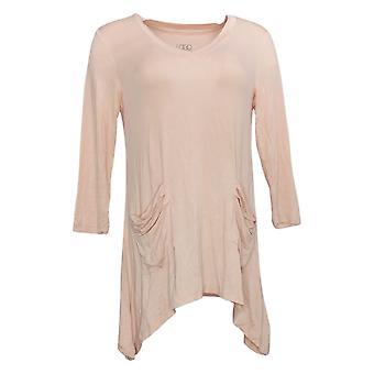 LOGO par Lori Goldstein Top XST pour femmes avec manches 3/4 & Pocket Pink A202259