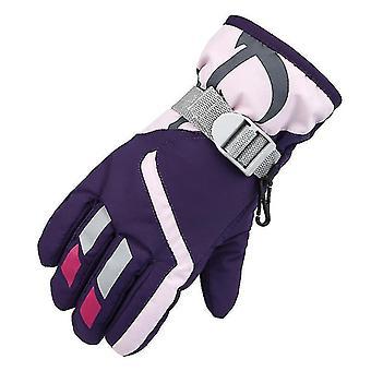 Lyžiarske rukavice, vodotesné detské lyžiarske rukavice, snežný skúter Studené počasie Rukavice (Fialová)