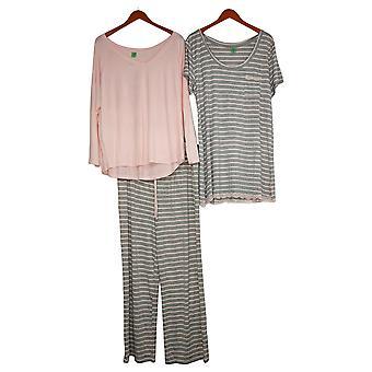 Honeydew Women's Set Reg 3-Piece Pajama Gown, Top, and Pants Pink