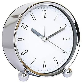 Lindo 4 en despertador Reloj de mesa pequeña Sin tick Redondo Silencioso Reloj de alarma analógico (azul)