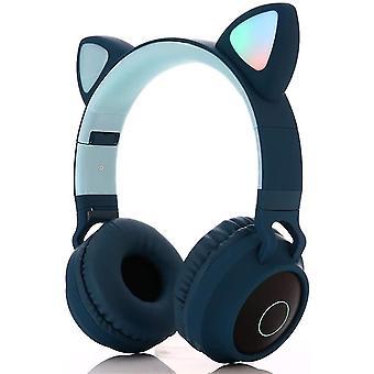 Zestaw słuchawkowy do gier Qian z mikrofonem do Ps4, iPhone'a, komputera, odłączanych uszu dla dziewcząt i kobiet (niebieski)