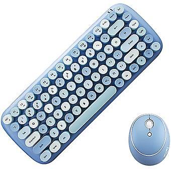 Mini bezdrátová klávesnice 2,4g Usb klávesnice a myš set, kulaté klávesy, vícebarevné roztomilé dívčí klávesnice... (modrá)