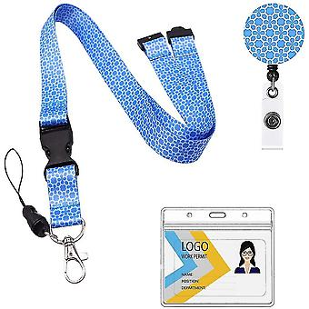 (Blue)Neck Lanyard And Retractable Reel Set Flowered Pattern