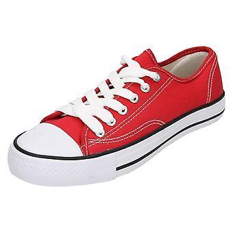 Childrens Spot på lærred blonder sko X0001
