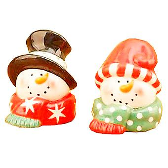 Jolly Whimsical Snowman Couple Ceramic Salt and Pepper Shaker Set
