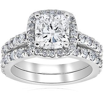 3 ct Kissen Halo Diamond Engagement Trauring Set 14k Weißgold