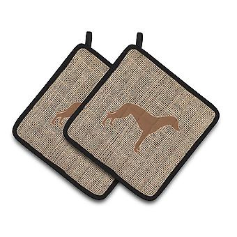 Greyhound Faux Burlap and Brown   Pair of Pot Holders