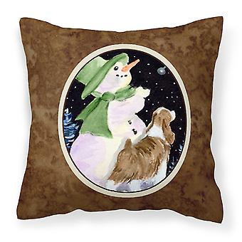 Snowman with Springer Spaniel Decorative   Canvas Fabric Pillow