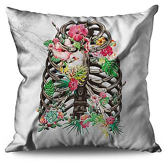 Skull Flower Linen Cushion 30cm x 30cm | Wellcoda