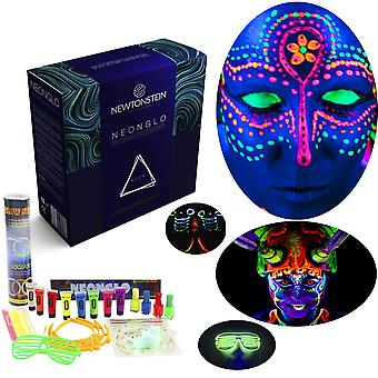NeonGlo - 220 Pcs Party Kit with Glowing Stick Bracelets 3D and Glow Ball Connectors UV Neon Face Paint Nail Varnish Tattoo Stickers Glasses Shoe Laces Bunny Ears / Hair Clip Barrettes with Free Ideas Booklet - Mixed Colours