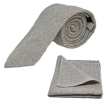 Zilvergrijs & crème Graatvormige Tie & zak vierkante Set