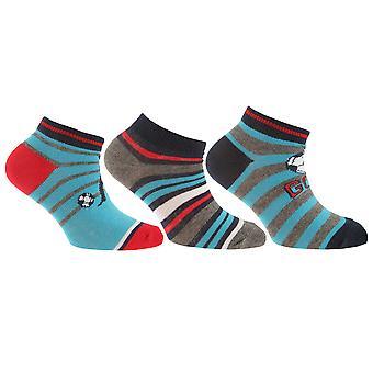 Childrens/Boys Cotton Rich Goal/Stripe Design Trainer Socks (Pack Of 3)