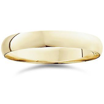 4mm Dome Yüksek Cilalı Düğün Bandı 10K Sarı Altın