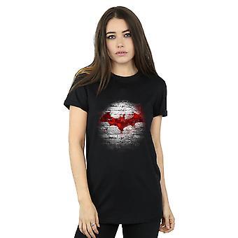 DC Comics Batman Logo vägg pojkvän Fit Undertröjor för kvinnor