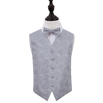Silver Paisley Wedding Waistcoat & Bow Tie Set for Boys