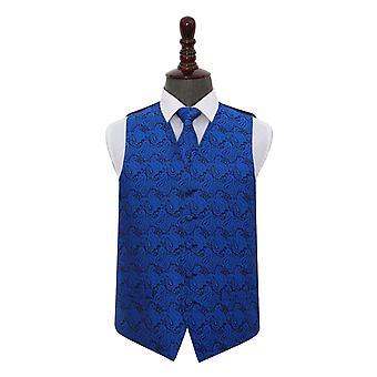 Royal Blue Paisley Wedding Waistcoat & Tie Set