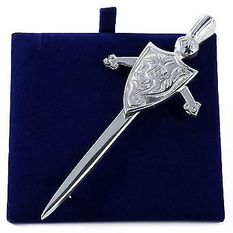Scottish Thistle Sword and Shield Pewter Kilt Pin