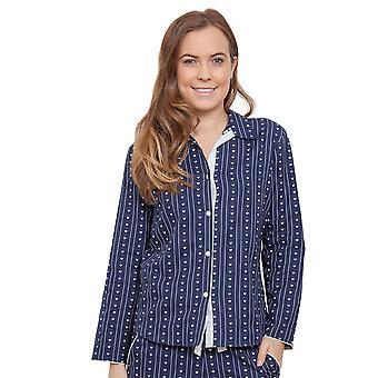 Cyberjammies 3846 kvinnors Zoe Navy blå hjärtat ut pyjamas pyjamas Top