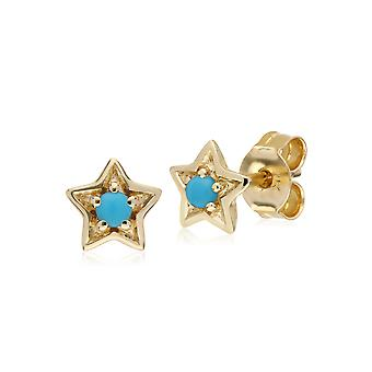 Gemondo 9ct giallo oro turchese singola pietra stelle orecchini