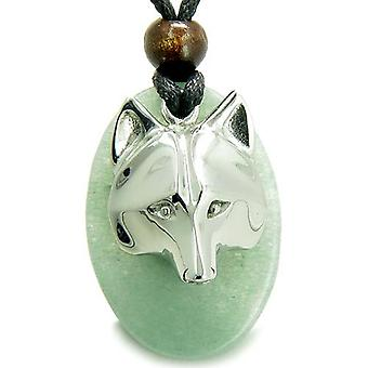 Amulet ProtectiWise Wolf Mask Good Luck Powers Green Aventurine Charm Pendant Necklace