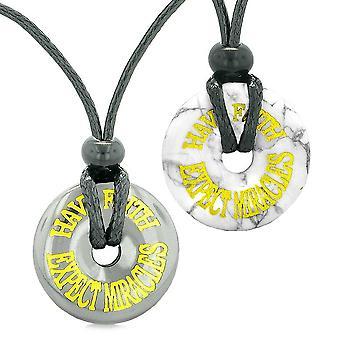 Amuletter har tro forvente mirakler kjærlighet par beste venn Donuts hematitt hvit Howlite halskjeder