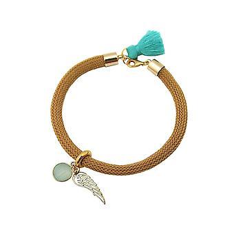 Gemshine Armband Vergoldet Edelstein Aqua Chalcedon Engel Flügel Grün Braun